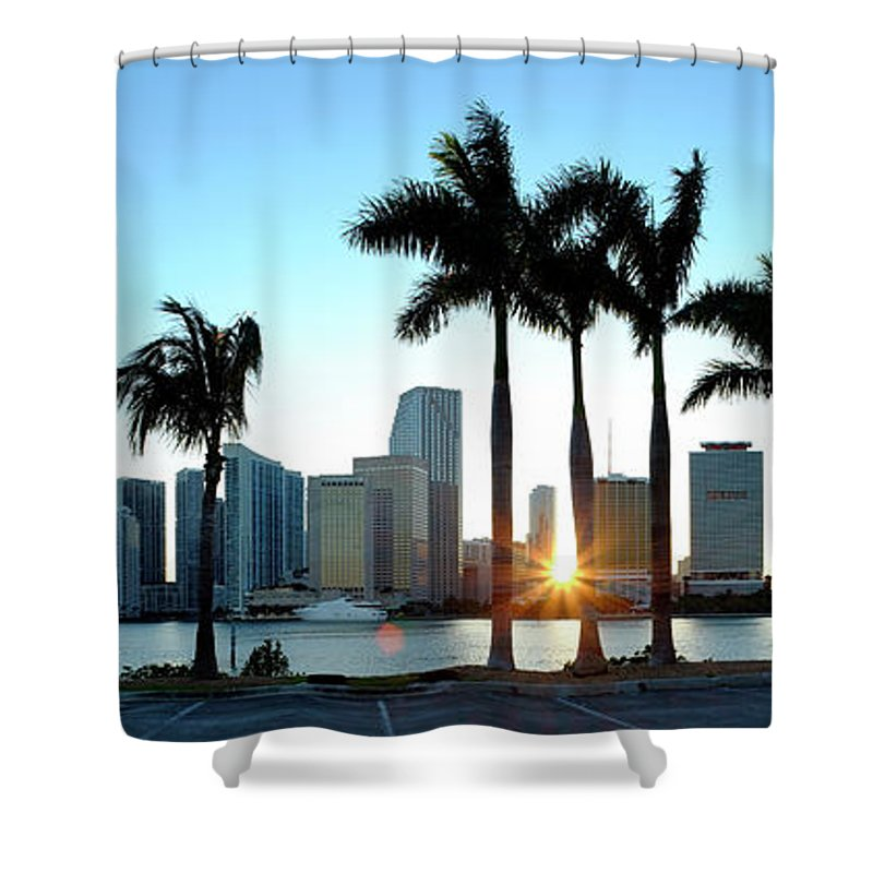 Downtown District Shower Curtain featuring the photograph Miami Skyline Viewed Over Marina by Travelpix Ltd