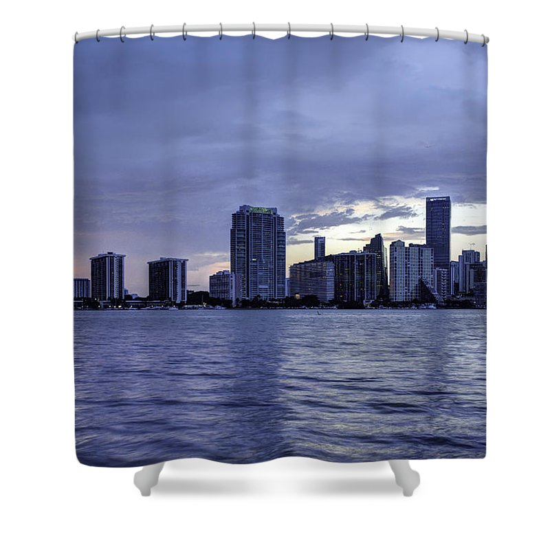 Miami Shower Curtain featuring the photograph Miami Skyline Waves by Manuel Lopez