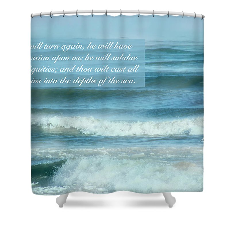 Lake Michigan Shower Curtain featuring the photograph Micah 7 V 19 by Debbie Nobile