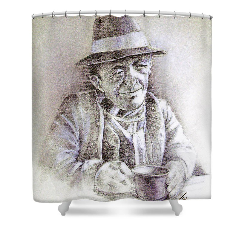 Portrait Michael Anderson Shower Curtain featuring the painting Michael J Anderson by Miki De Goodaboom