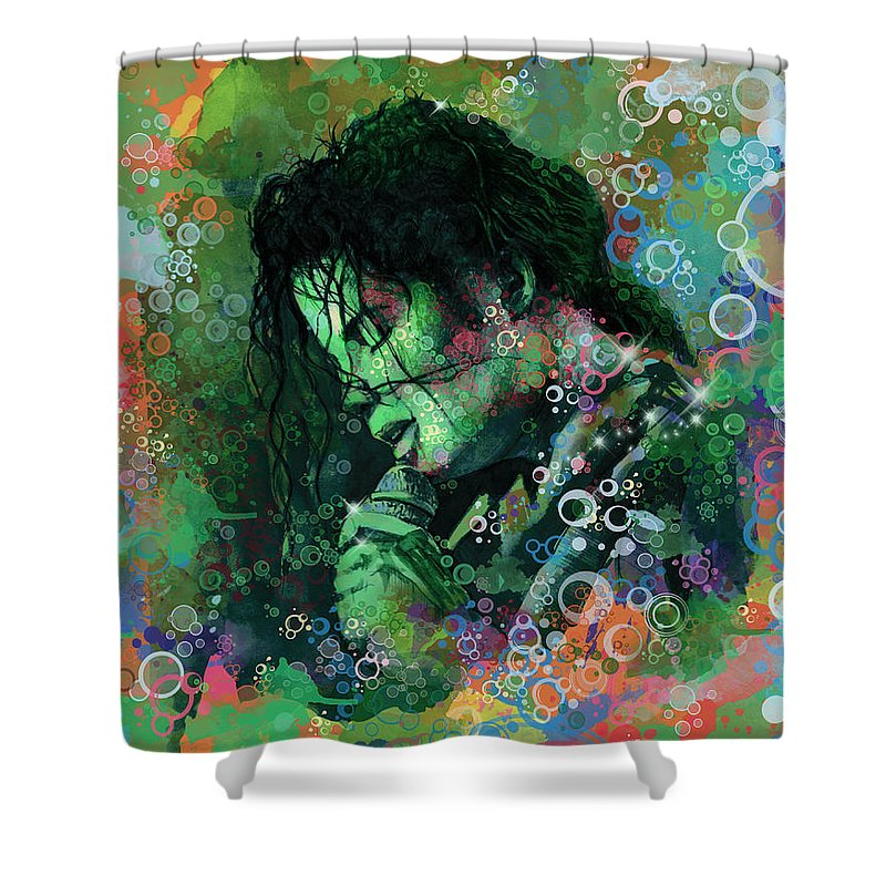Michael Jackson Shower Curtain featuring the painting Michael Jackson 15 by Bekim M