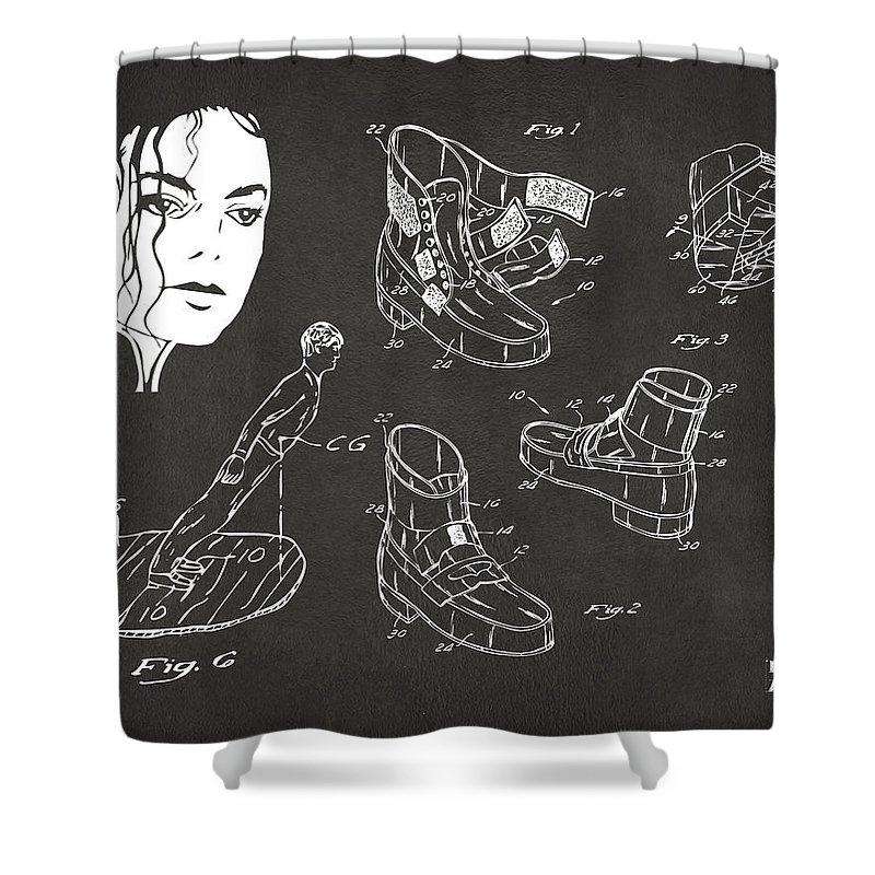 Michael Jackson Shower Curtain Featuring The Digital Art Anti Gravity Shoe Patent Artwork