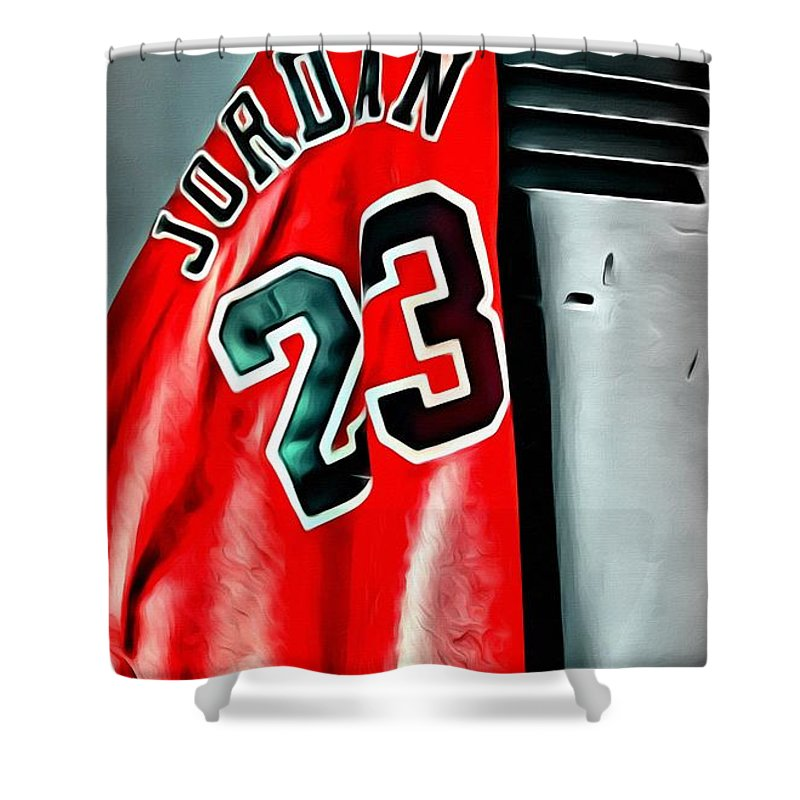 Nba Shower Curtain featuring the painting Michael Jordan 23 Shirt by Florian Rodarte