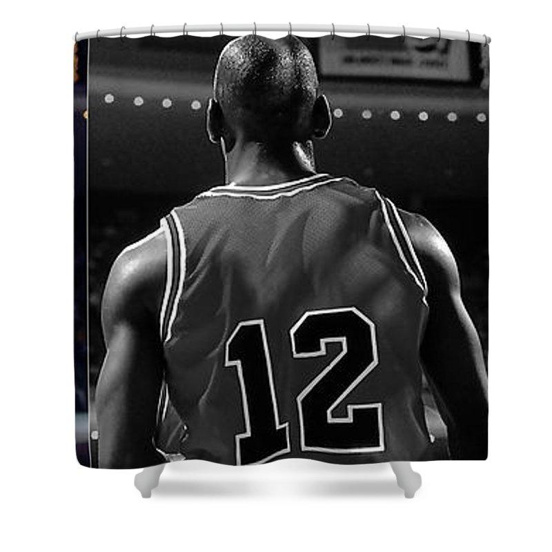 Michael Jordan Shower Curtain featuring the mixed media Michael Jordan by Marvin Blaine