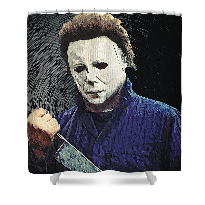Michael Myers Shower Curtain Featuring The Digital Art By Zapista