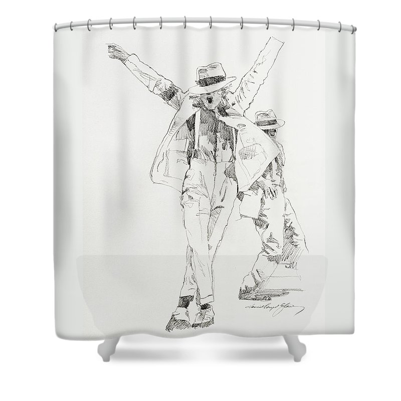 Michael Jackson Shower Curtain featuring the drawing Michael Smooth Criminal by David Lloyd Glover