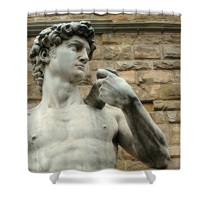 Michelangelos David Shower Curtain featuring the photograph Michelangelo's David 1 by Ellen Henneke