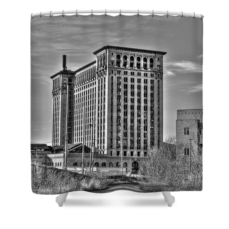 Michigan Central Shower Curtain featuring the photograph Michigan Central Station by Nicholas Grunas