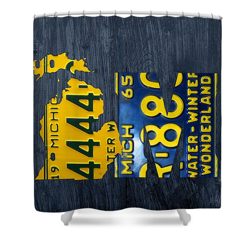Michigan Shower Curtain Featuring The Mixed Media Home Recycled Vintage License Plate Art State Shape