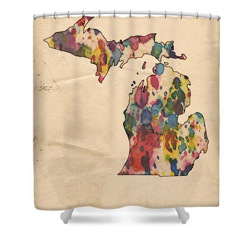 Michigan Shower Curtain Featuring The Painting Map Vintage Watercolor By Florian Rodarte