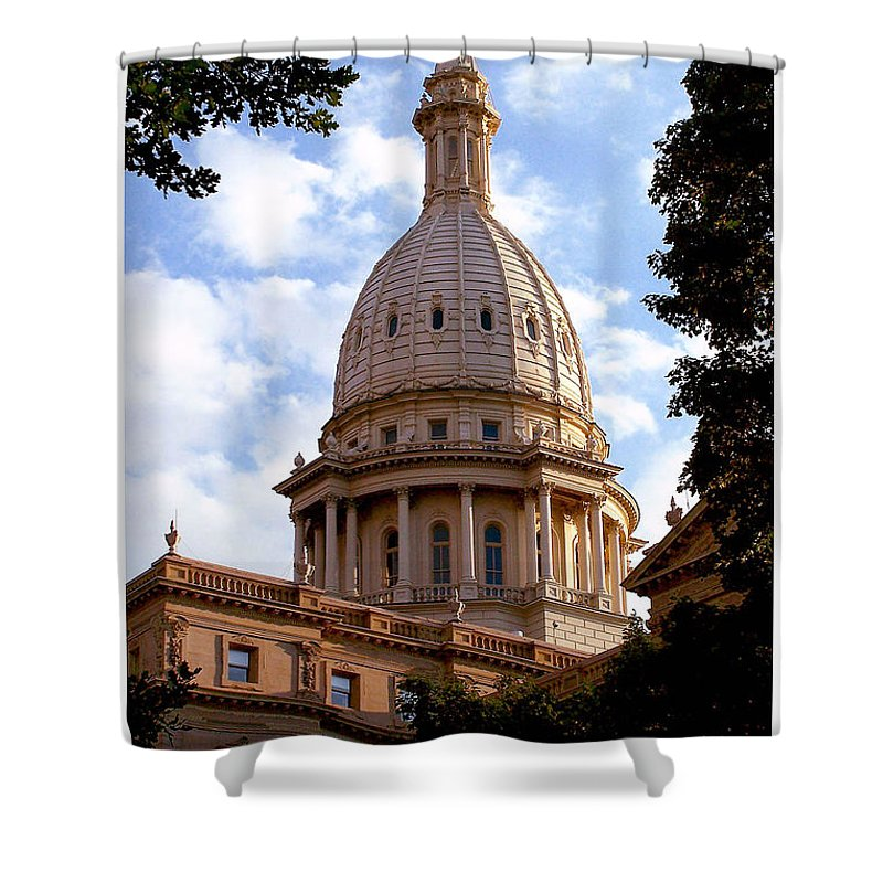 Michigan Shower Curtain featuring the photograph Michigan State Capitol by Gene Tatroe