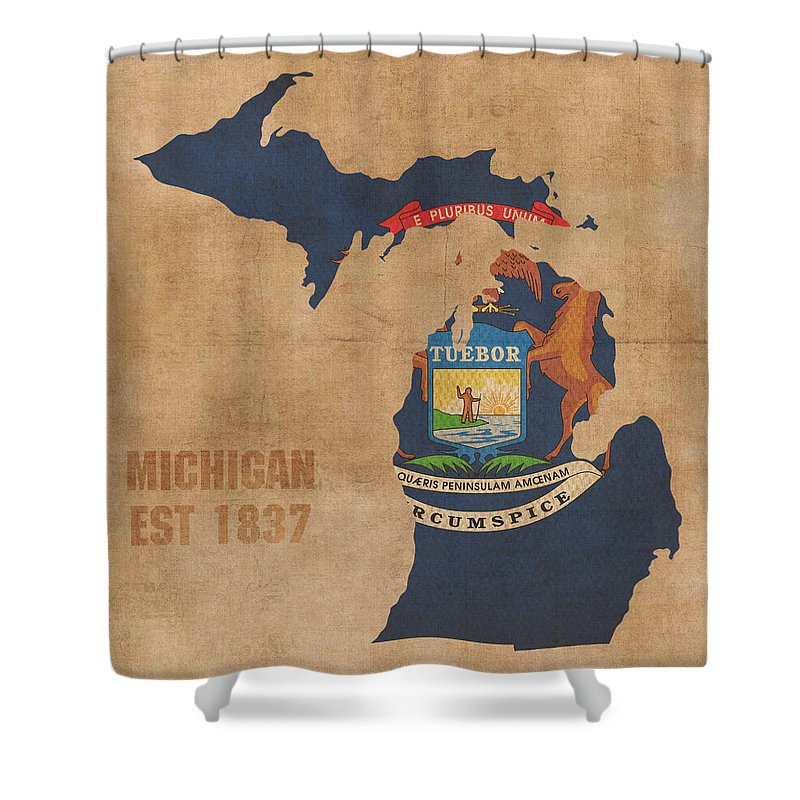 Michigan Shower Curtain Featuring The Mixed Media State Flag Map Outline With Founding Date On