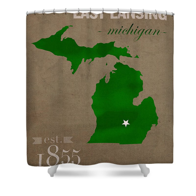 Michigan State University Shower Curtain featuring the mixed media Michigan State University Spartans East Lansing College Town State Map Poster Series No 004 by Design Turnpike