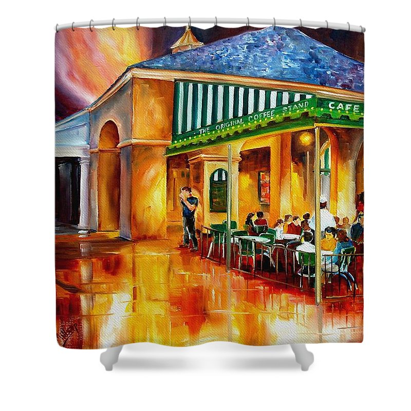 New Orleans Paintings Shower Curtain featuring the painting Midnight At The Cafe Du Monde by Diane Millsap