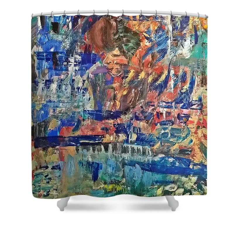 Abstract Shower Curtain featuring the painting Midnight Call by Janet Lilethia Harvey