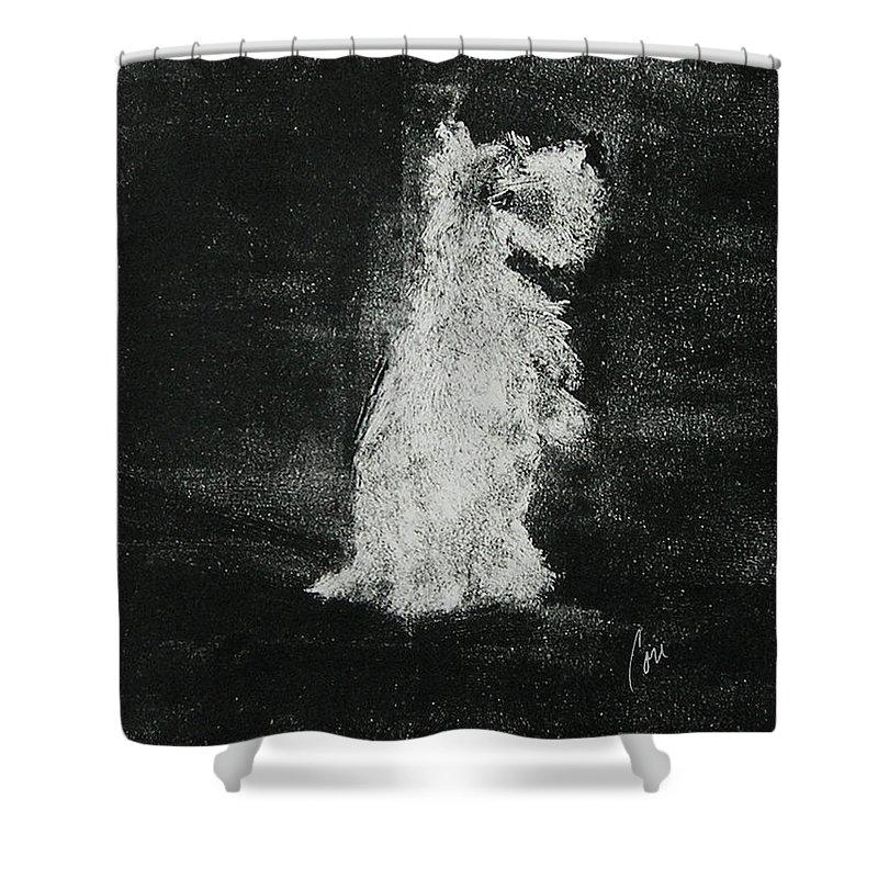 Monotype Shower Curtain featuring the mixed media Midnight Sonata by Cori Solomon