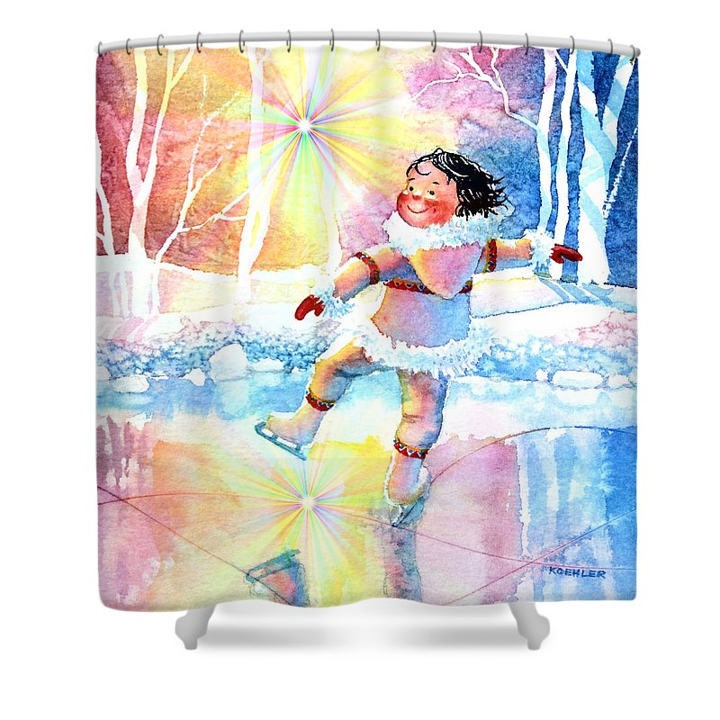 Child Room Art Shower Curtain featuring the painting Midnight Sun Skating Fun by Hanne Lore Koehler