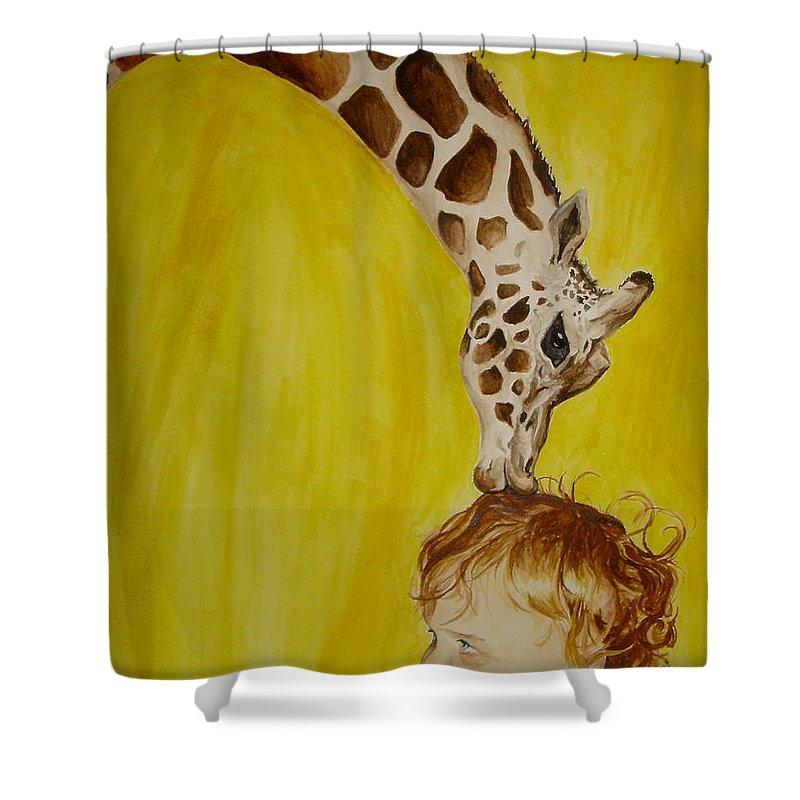 Giraffe Shower Curtain featuring the painting Mika And Giraffe by Tamir Barkan
