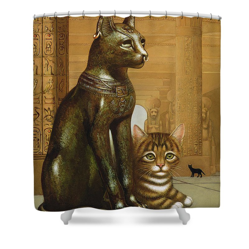 Cat Shower Curtain Featuring The Photograph Mike British Museum Kitten By Frances Broomfield