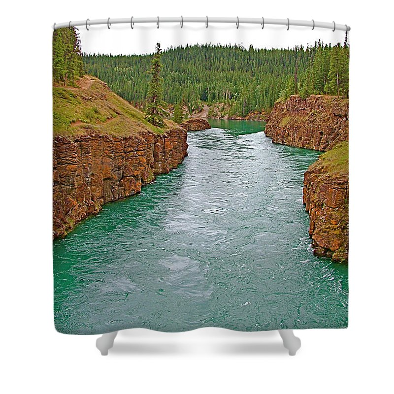 Miles Canyon In Whitehorse Shower Curtain featuring the photograph Miles Canyon In Whitehorse-yt by Ruth Hager
