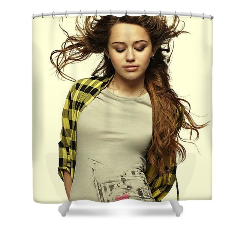 Miley Ray Cyrus Shower Curtain featuring the photograph Miley Cyrus by Movie Poster Prints