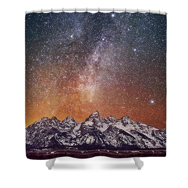 Tranquility Shower Curtain featuring the photograph Milky Way Over Grand Teton by Chen Su