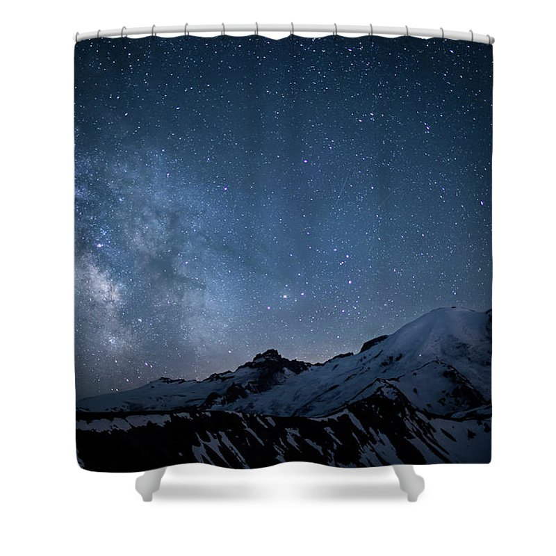 Scenics Shower Curtain featuring the photograph Milky Way Over Mount Rainier by Ed Leckert