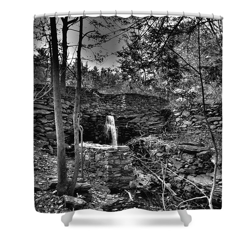 Mill Pond Dam Shower Curtain featuring the photograph Mill Pond Dam by Mark Valentine