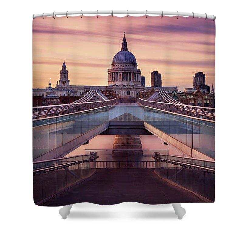 London Millennium Footbridge Shower Curtain featuring the photograph Millennium Bridge Leading Towards St by Roland Shainidze Photogaphy