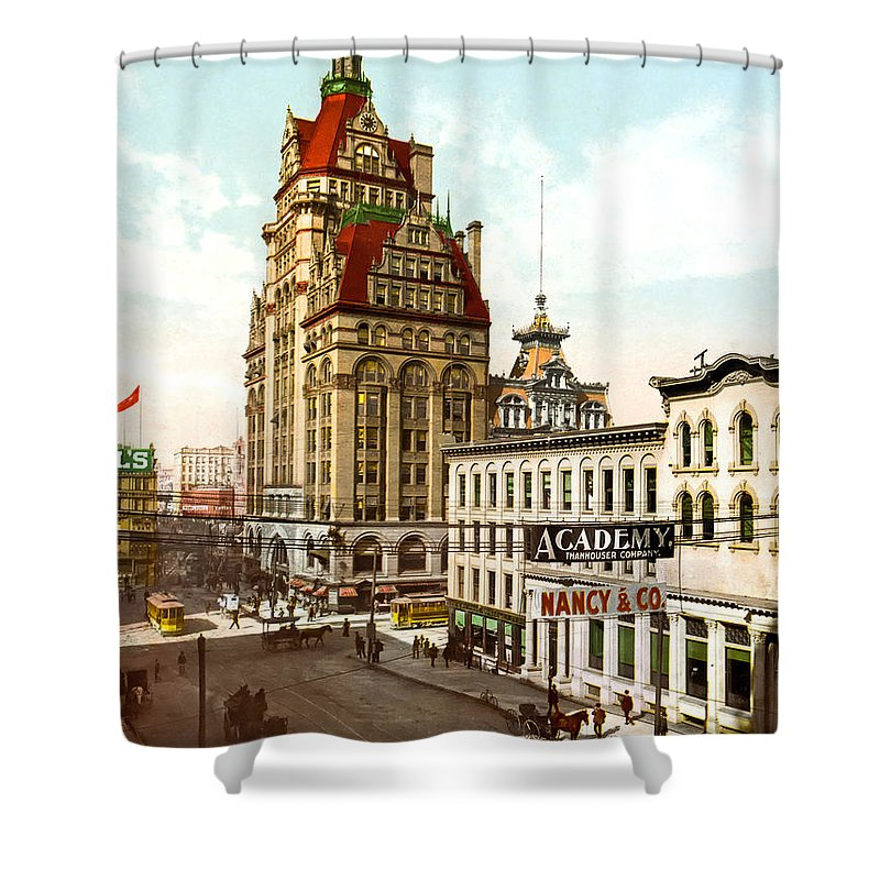 1899 Shower Curtain featuring the photograph Milwaukee's Wisconsin Street 1899 by Mountain Dreams