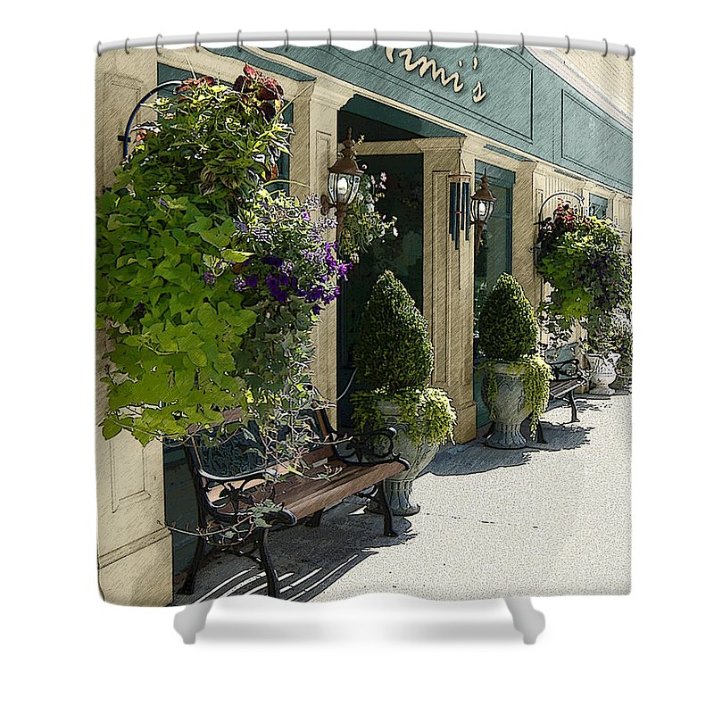 Windows On The Square Shower Curtain featuring the photograph Mimi's by Lee Owenby