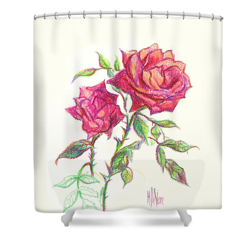 Nature Shower Curtain featuring the painting Minature Red Rose by Kip DeVore
