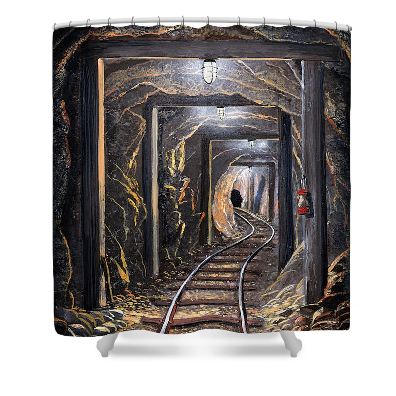 Mural Shower Curtain featuring the painting Mine Shaft Mural by Frank Wilson
