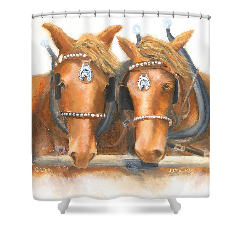 Horse Shower Curtain featuring the painting Mini And Jake by Jerry McElroy