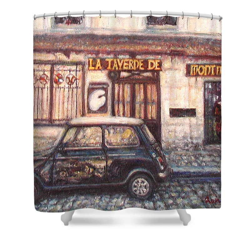 Quin Sweetman Shower Curtain featuring the painting Mini De Montmartre by Quin Sweetman