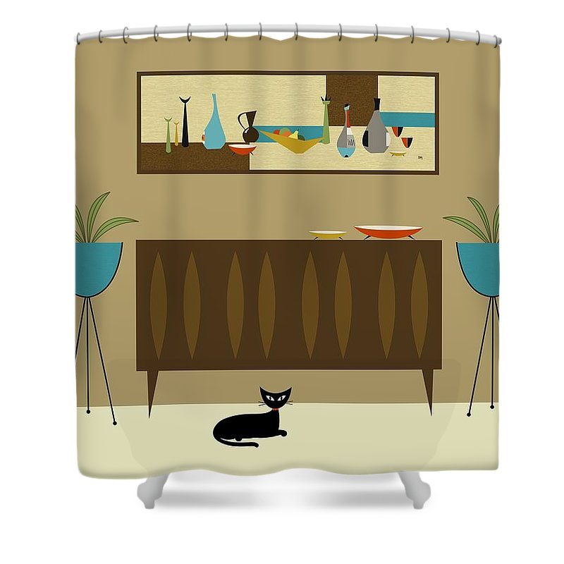 Mid Century Modern Shower Curtain featuring the digital art Mini Still Life by Donna Mibus