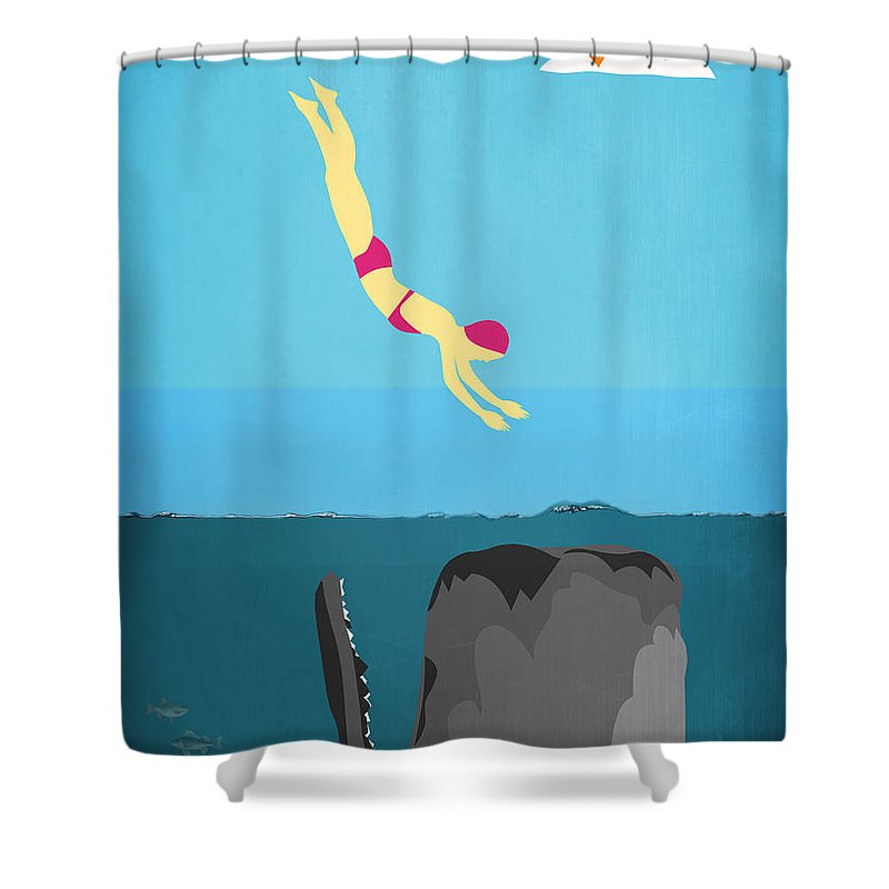 Minimal Sea Life Shower Curtain For Sale By Mark Ashkenazi