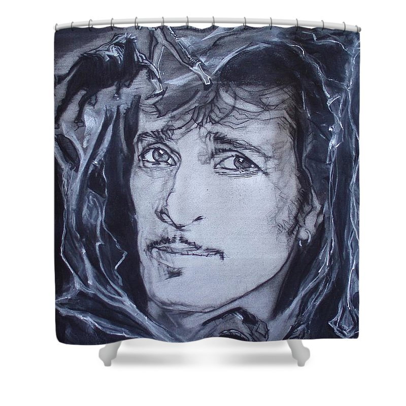 Charcoal;mink Deville;new York City;gina Lollabrigida Eyes ;cat Eyes;bullfight;toreador;swords;death;smoke;blues Shower Curtain featuring the drawing Willy Deville - Coup De Grace by Sean Connolly