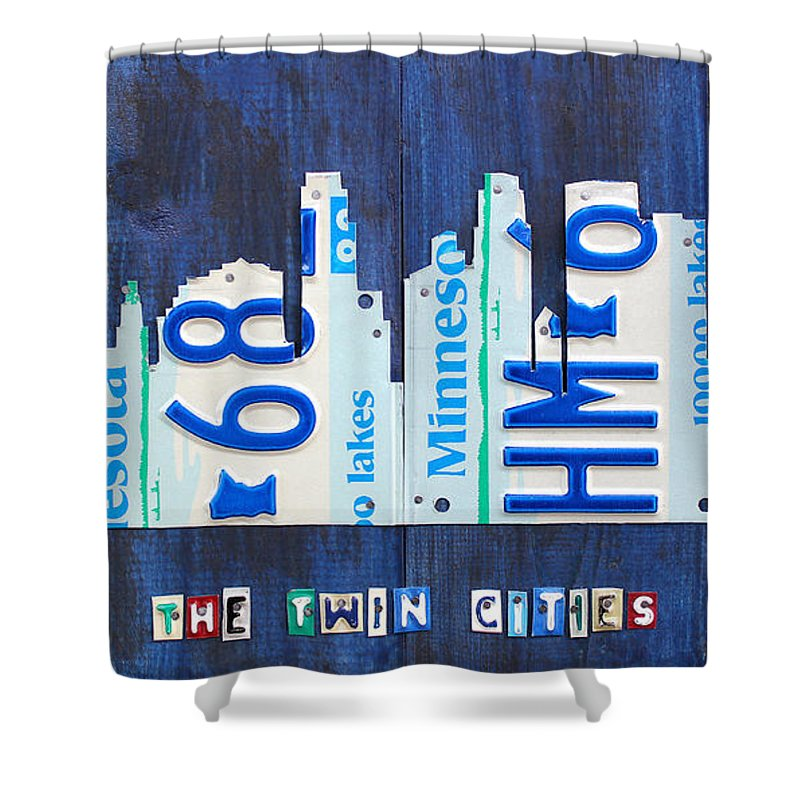 Minneapolis Shower Curtain Featuring The Mixed Media Minnesota City Skyline License Plate Art Twin