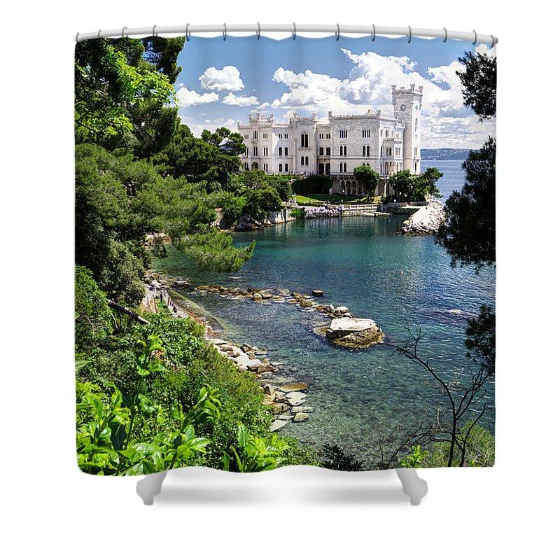 Miramare Shower Curtain featuring the photograph Miramare Castle Beach by Ivan Slosar
