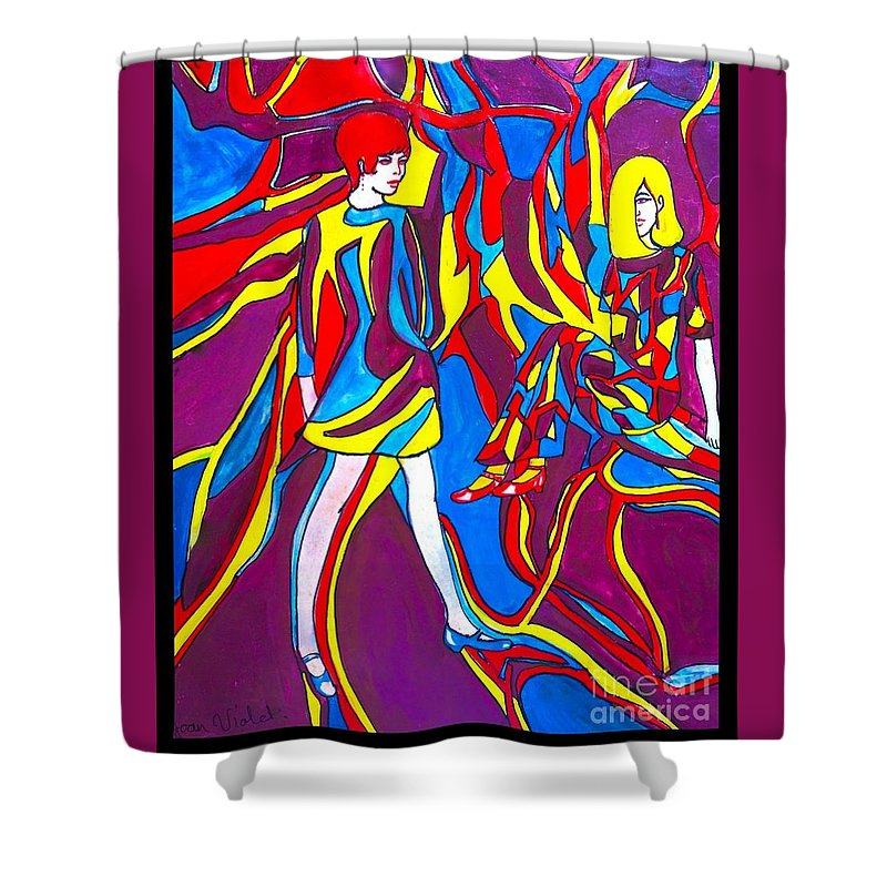 Fashion Art Shower Curtain featuring the painting Miss 1966 Poster Design by Joan-Violet Stretch