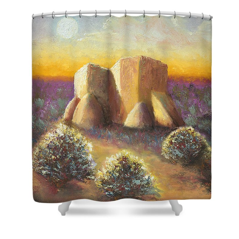 Landscape Shower Curtain featuring the painting Mission Imagined by Jerry McElroy