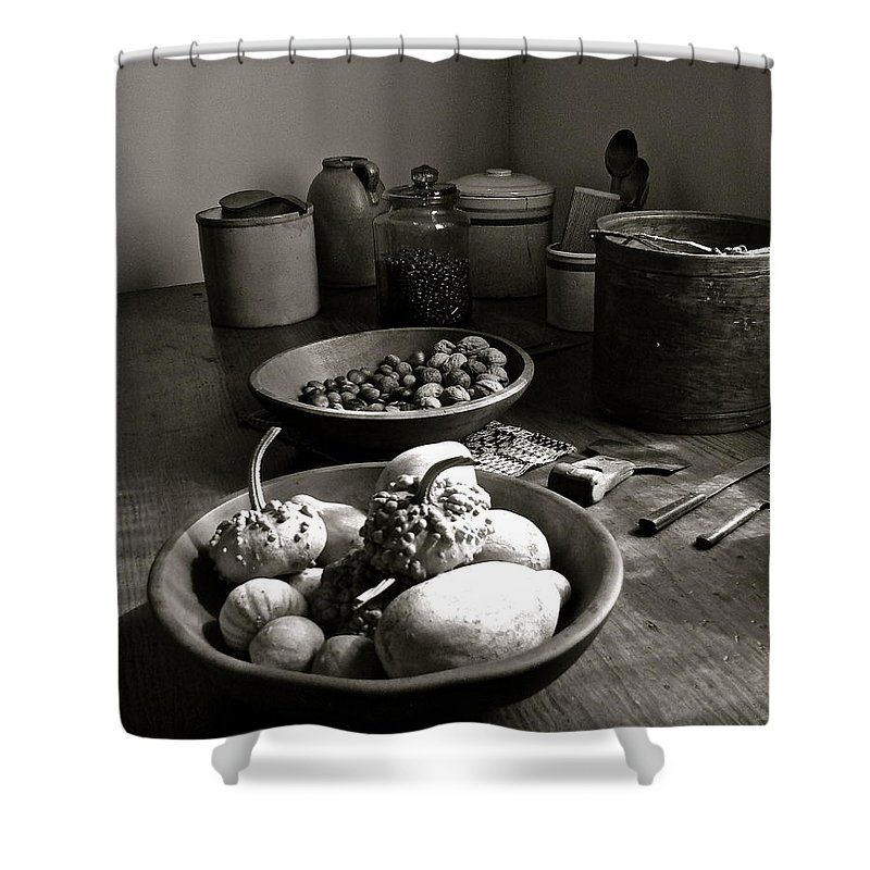 Salem Shower Curtain featuring the digital art Mission Still In Black And White by Gary Olsen-Hasek