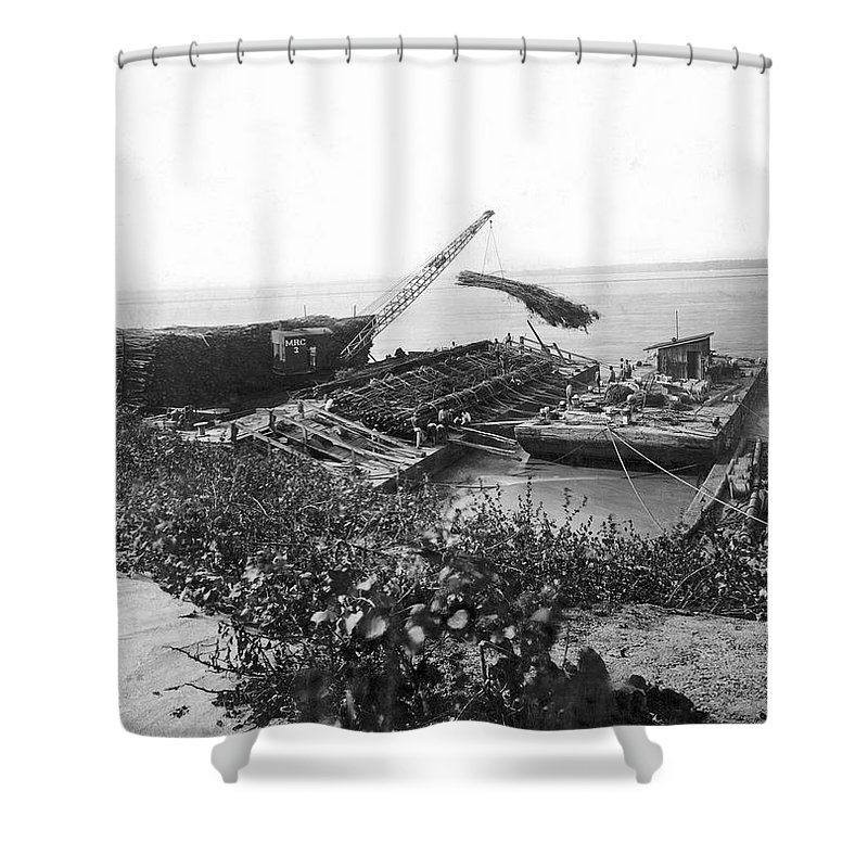1920s Shower Curtain featuring the photograph Mississippi Flood Control by Underwood Archives