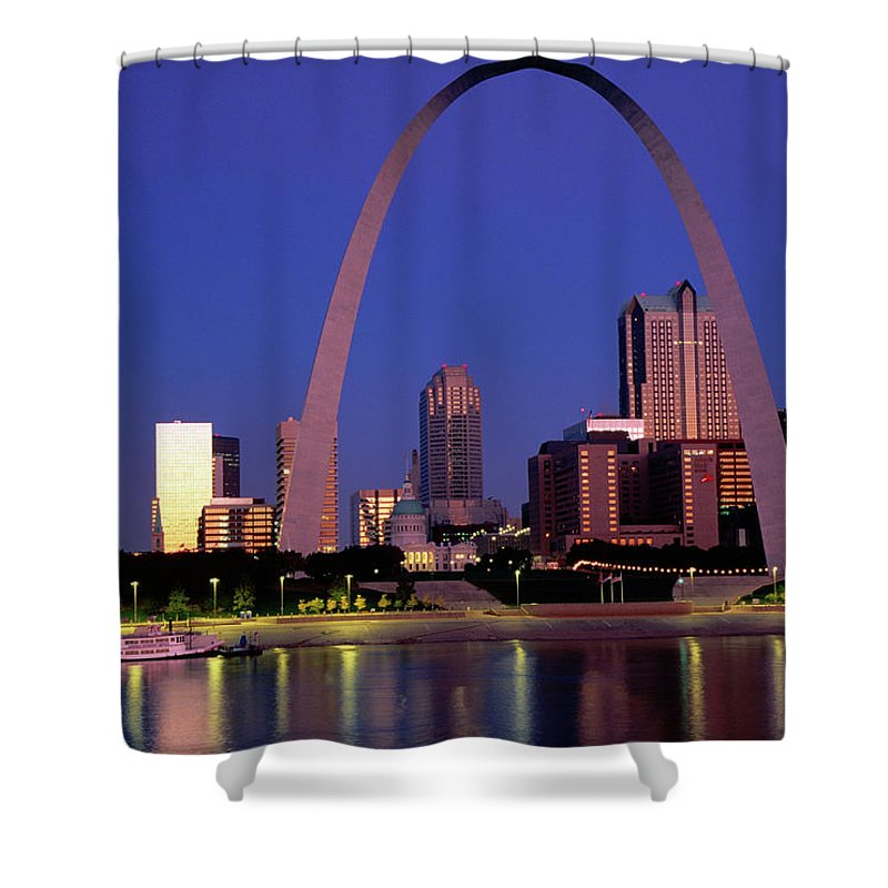 Arch Shower Curtain featuring the photograph Mississippi River And Gateway Arch At by John Elk