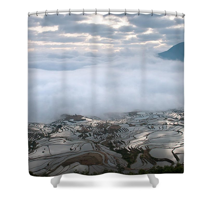 Agriculture Shower Curtain featuring the photograph Mist And Cloud by Kim Pin Tan