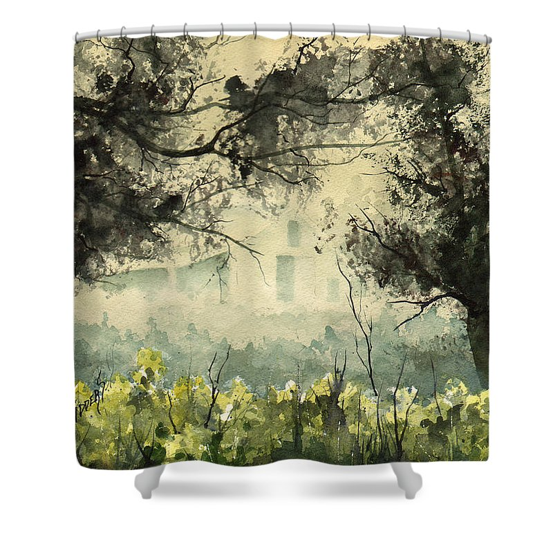 Mist Shower Curtain featuring the painting Misty Barn by Sam Sidders