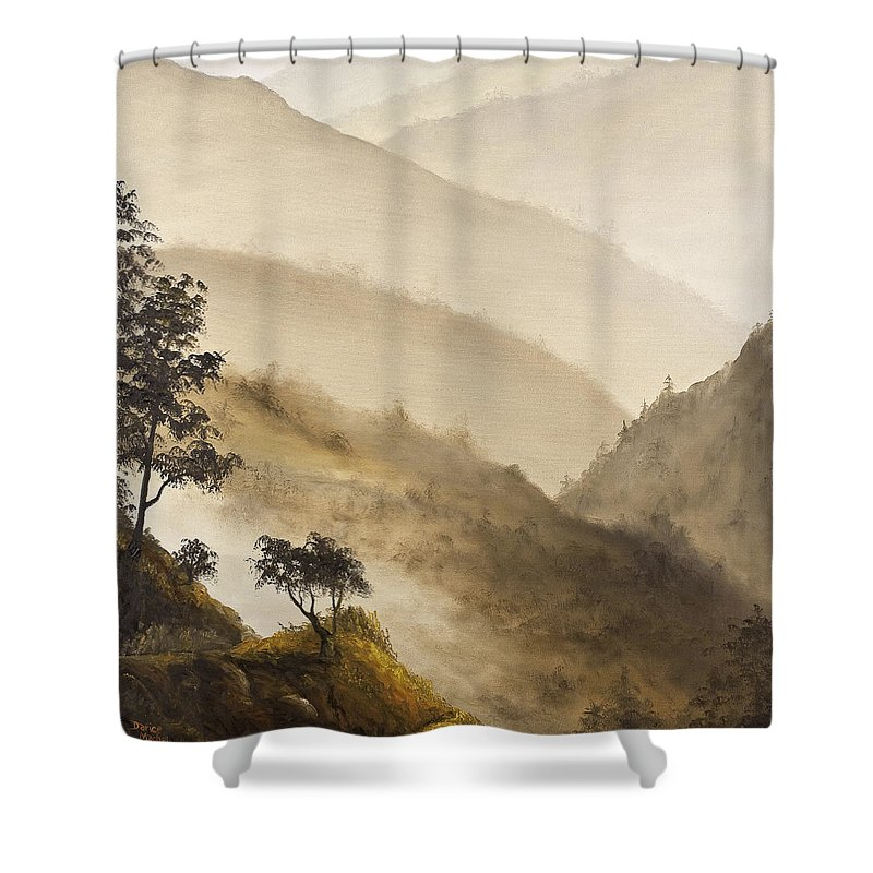 Landscape Shower Curtain featuring the painting Misty Hills by Darice Machel McGuire
