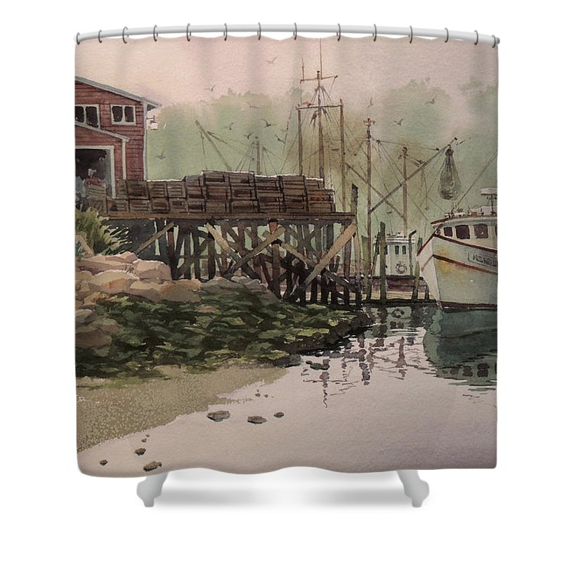 Landscapes Shower Curtain featuring the painting Misty Morning by Jon Hunter