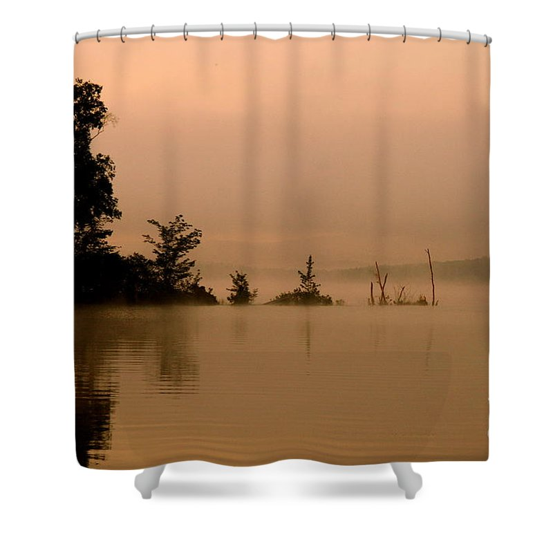 Lake Shower Curtain featuring the photograph Misty Morning Solitude by Neal Eslinger